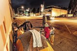 Homeless with no where to go but pitch a tent on Tacoma Avenue