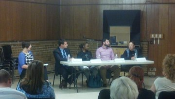 Lynda Foster moderator, Rep. David Sawyer, Makini Howell, Andrew Wright and Alma Gutierrez